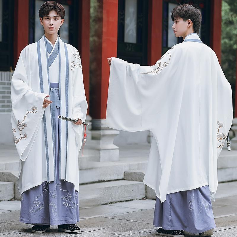 vestuário chinês casaco cardigan uma peça vestido Roupa de inverno fez-canção dos homens bordados de mangas compridas topo de uma peça traje terno de saia