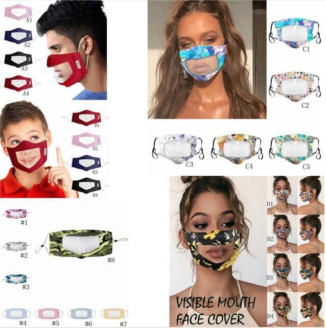 25style Transparente Labio Anti PVC Flother Face Mask Designer Anti-Niebla Boca Funda Suda Máscaras Mascaras Mute Print Dust Mask Mask GGA3584- WMSF