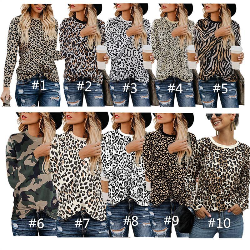 인쇄 표범 여성 T 셔츠 가을 스웨터 긴 소매 O 목 T 셔츠 패션 디자인 운동복 캐주얼 후드 여자 톱 의류 탑