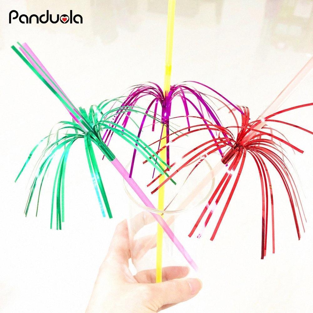 20pcs mariage paille Feu d'artifice Cocktail Umbrella Straws Paille pour boire Fête d'anniversaire d'enfants / fête de mariage Boisson Straws de la #