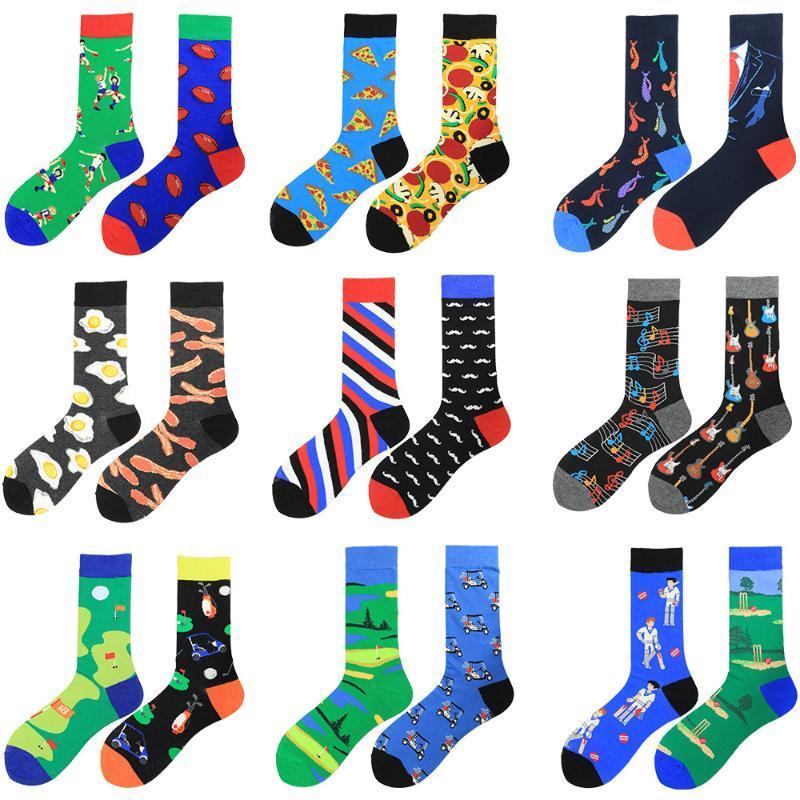 NEW Creative Fashion AB Asymmetric Socks Men 100 Cotton Gifts for Mens Hip Hop Winter Summer Funny Happy Harajuku Casual Socks