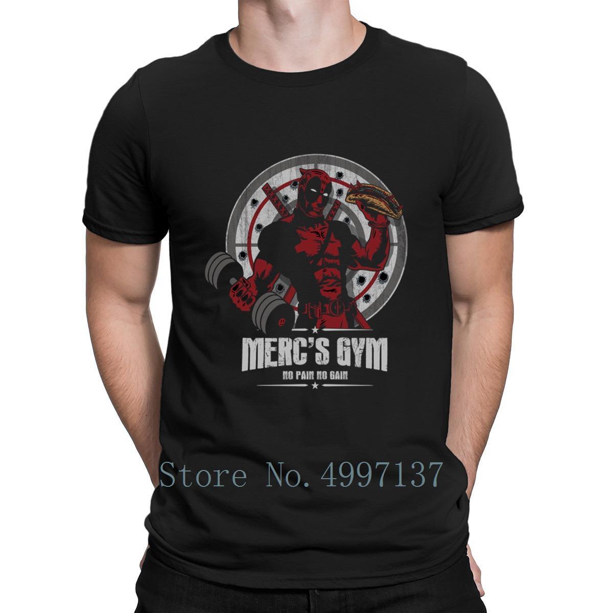 Gym Piscine Faire Mercs Gym T-shirt personnalisé Impressionnant O cou été Intéressant Casual base solide T-shirt Deadpool