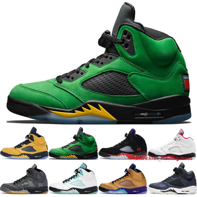 2020 Jumpman 5 Hombres Baloncesto diseñador del cuero de zapatos de Oregon Top 3 Isla Verde Apagado aceite reflectante gris grande Babys al aire libre las zapatillas de deporte Tamaño 40-47