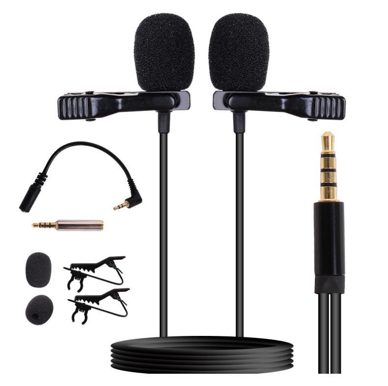 High Quality Low Price Dual Head Collar Lavalier Clip Lapel Tie Recording Interview Microphone Mic For DSLR Camera Mobile Cell Phone