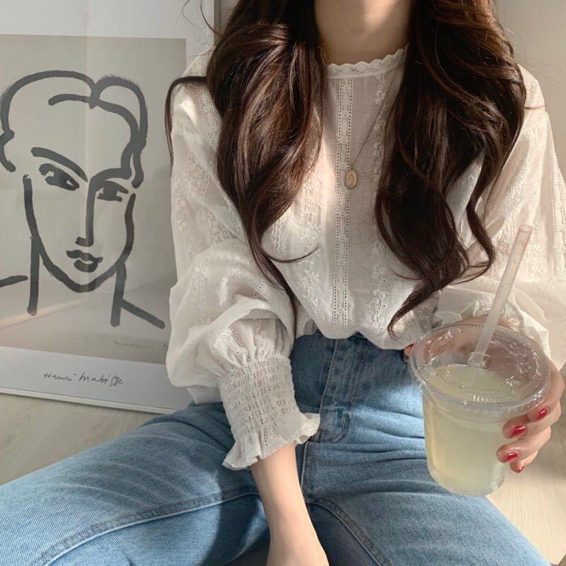 Tedos coreana ins manga dulce principios de la primavera inconformista Shirtshirt linterna chica de encaje gancho largo joven más destacado de las mujeres Top shirtLace