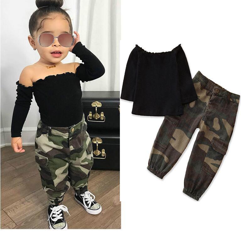 Autunno Moda Bambini Bambina Abbigliamento Abbigliamento Set Nero Manica lunga Off T-shirt T-shirt Top + Camouflage Pocket Pants Pants Outfit 1-6Y