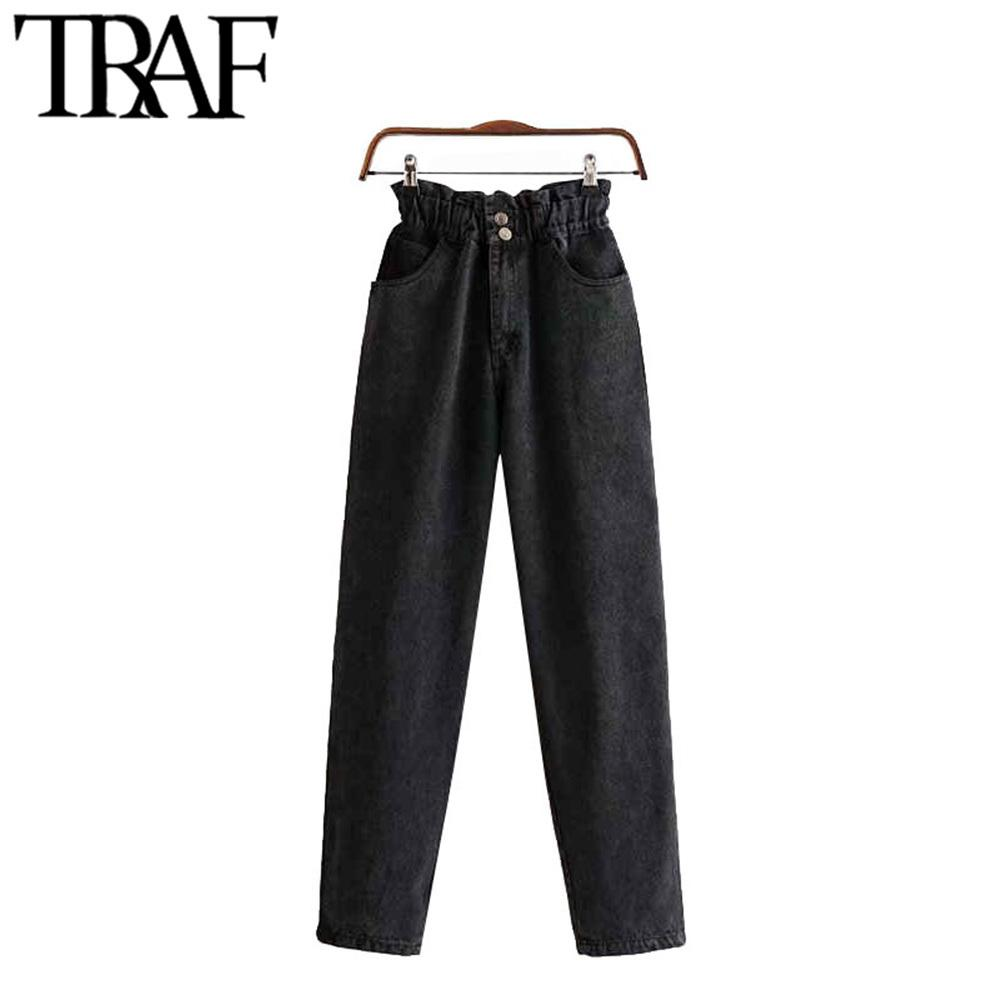 TRAF Femmes Vintage élégant poches taille haute Pantalon Denim Femme Mode braguette taille élastique cheville Pantalon Pantalones CX200721