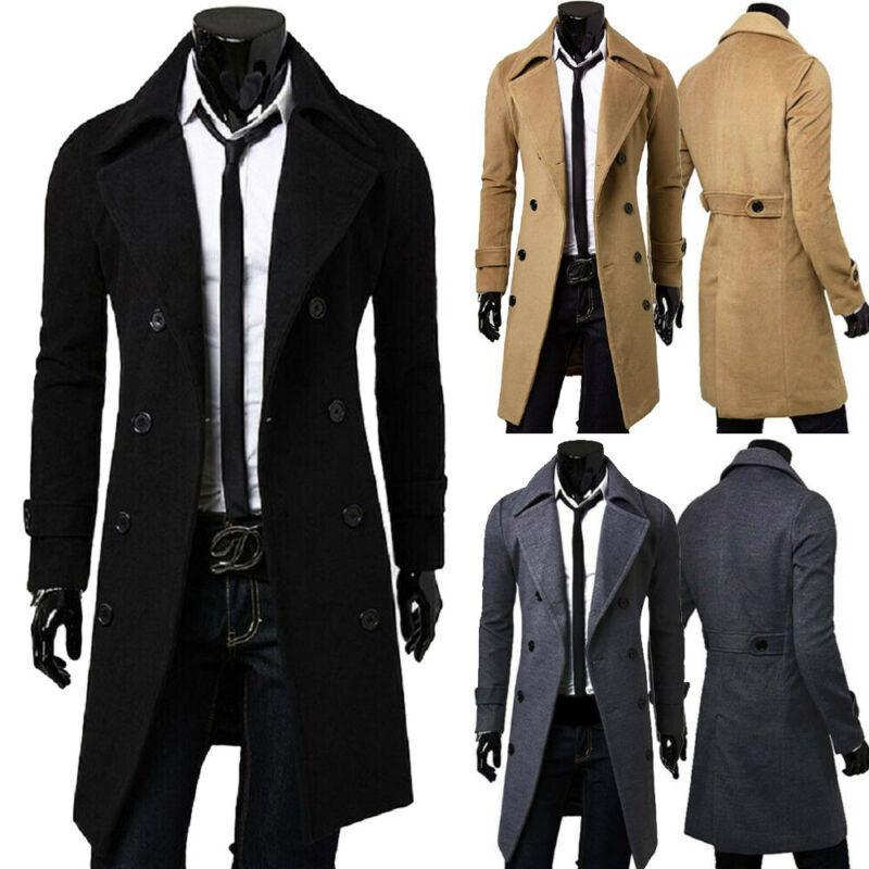 2020 Inglaterra Estilo Homens de lã Trench Coats Jacket clássico de Slim lapela Peacoat Mens Inverno Abotoamento longo Casacos Casacos