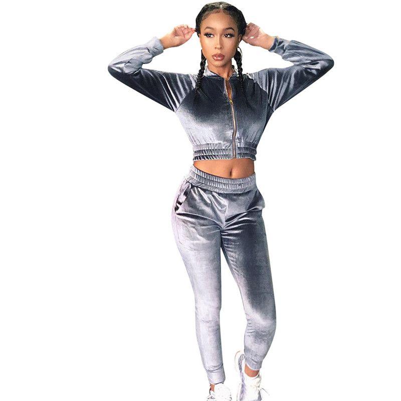 Femmes Survêtement Mode couleur naturelle Costumes Casual Zipper Neck Crop Top longueur cheville Pantalon Femmes Deux séries Piece