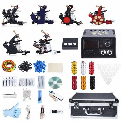 2017 Professional Tattoo Kit 6 Machine Guns Shader Liner Power Supply 50 Needles Tip With Store Box Tattoo Set Three Pin US Plug 1MFA#
