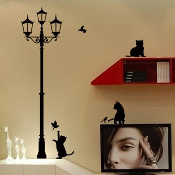 1PC New Design!Cat&Lamp Wall Stickers Art Decals Beautiful Home Decorate Free Shipping FZ2052