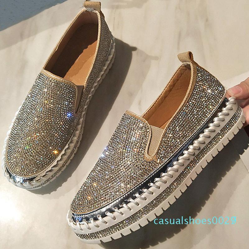 Platform Flats Espadrilles Ayakkabılar üzerine 1Fashion Sneakers Kayma Kadın Creepers Flats Bayanlar Kristal Loafers Günlük Ayakkabılar C27 BlingBling