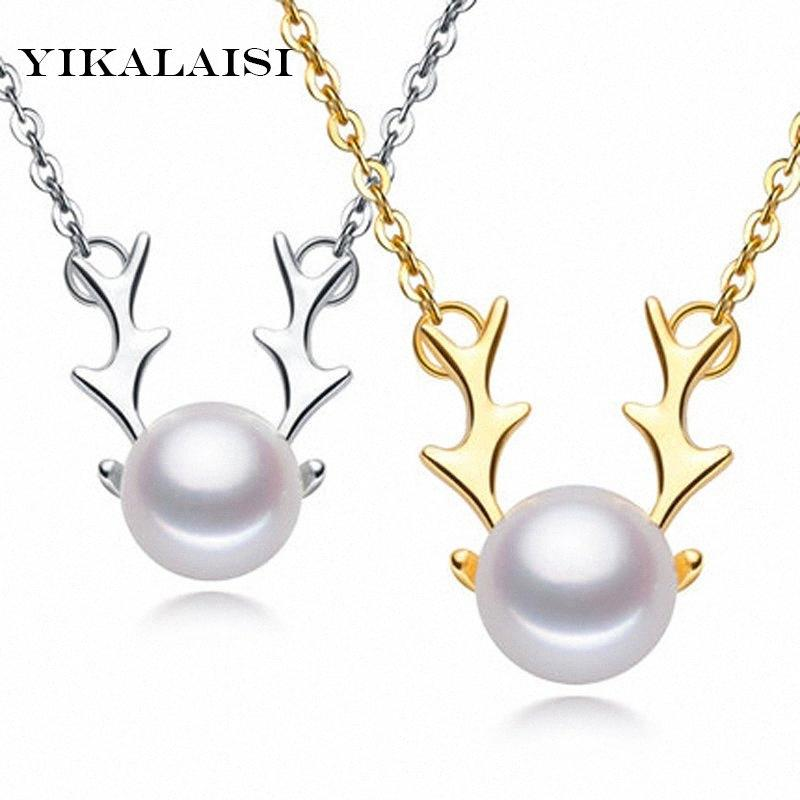 YIKALAISI 2017 joyería de perlas collar de perlas naturales reno colgantes de plata de ley 925 joyería para las mujeres navidad YBMv regalo #