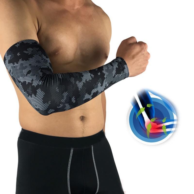 Long Camo Black Sports Armband Breathable Sunscreen Sleeve Non-slip Soft Moisture Wicking Comfortable Arm Sleeve Cycling Exersiz