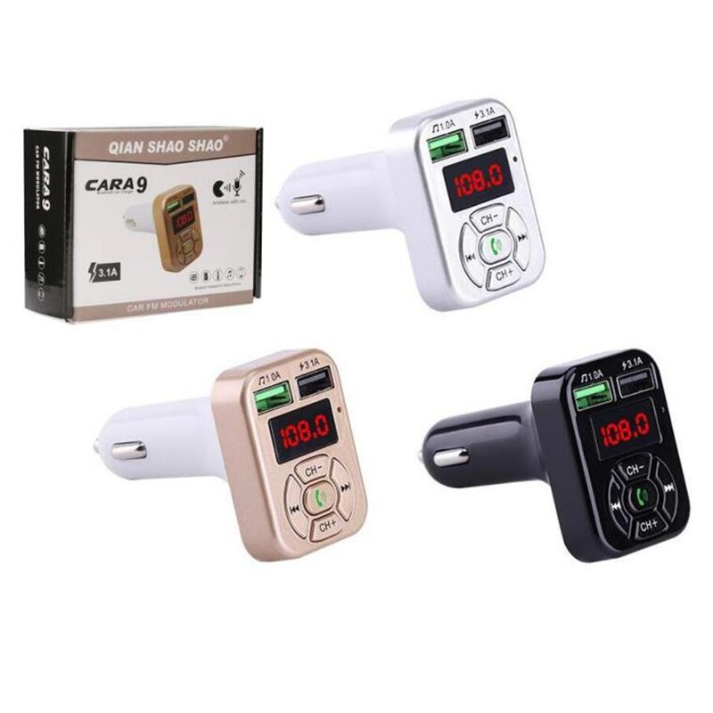 FM-Adapter A9 Bluetooth Auto-Ladegerät FM Transmitter mit Doppel-USB-Adapter Freisprecheinrichtung MP3-Player-Unterstützungs-TF-Karte für Samsung Universal