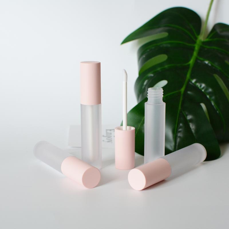 5/5 ml 200 píxeles de color rosa vaciar brillo de labios tubos, envases cosméticos de bricolaje brillo de labios de embalaje, superficie mate, Ronda, por mayor hecho