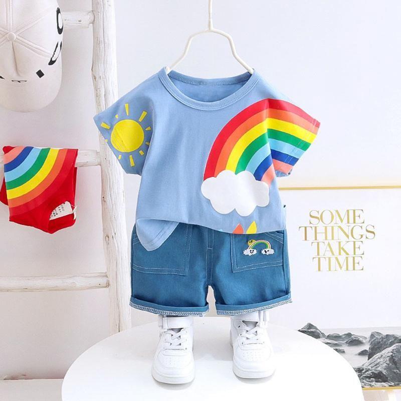 2020 Kid Baby Boy Rainbow T Shirt Denim Shorts Set Summer ...