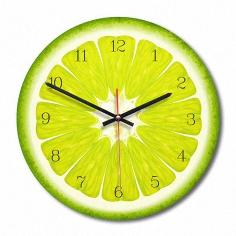 2018 Nueva forma del reloj de pared de la fruta pared del sitio de acrílico redondo reloj Saat Decoración Moda estar decortion piezas niños y regalo PfrX #