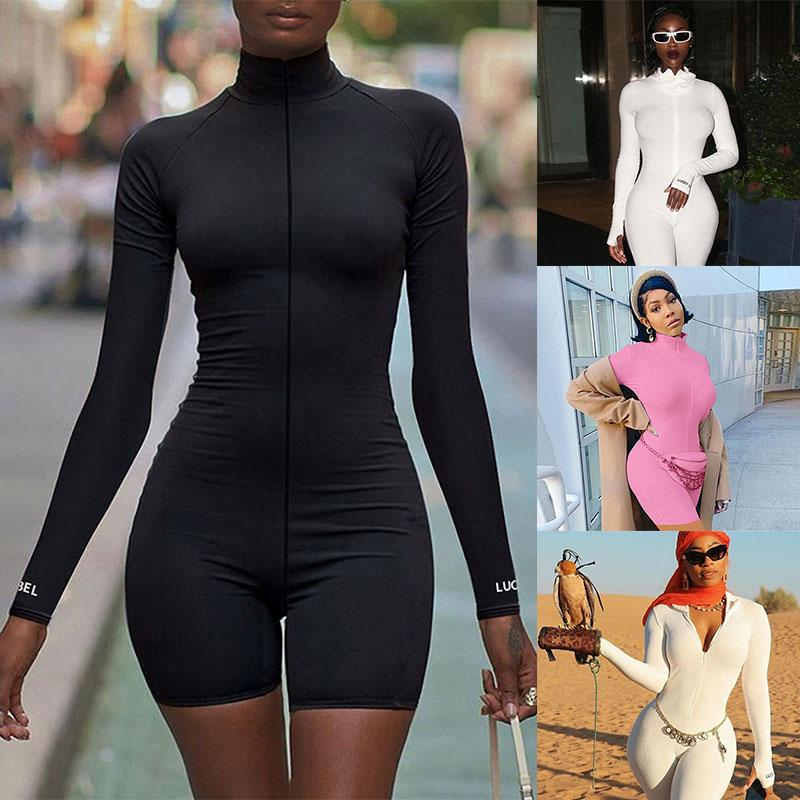 Women Long Sleeve Rompers Sexy High Collar Short Jumpsuit Zipper Playsuit Fashion Biker Shorts Skinny Ladies Tracksuit Sportswear 050718