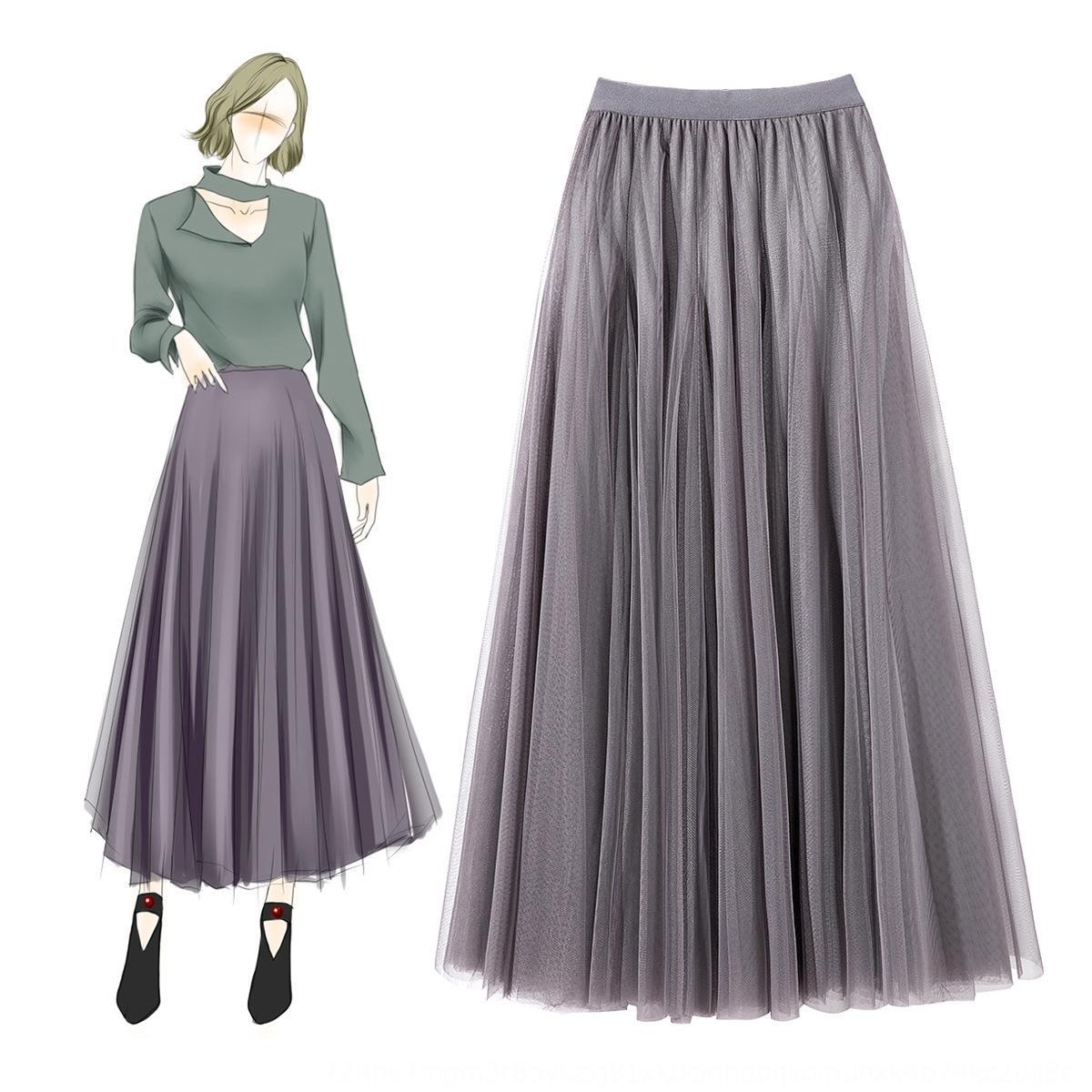 1qG8v boutique de moda Moda Mujer Boutique 811305 comienzo de la primavera nueva cintura elástica de malla grande falda de Internet Celebrity delgada dama falda 81