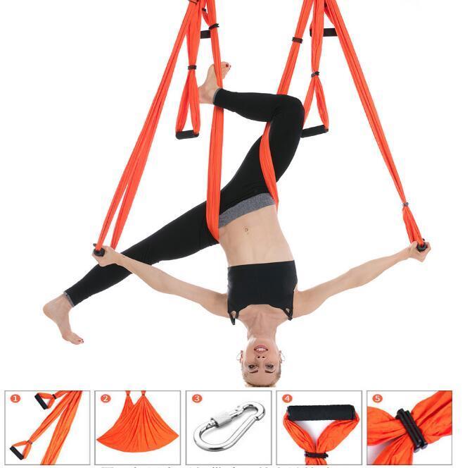 Aerial Yoga 6 Handle Inelasticity Multi Hammocks Anti-gravity Indoor Invert Parachute Cloth Hammock Fitness Handstand Furniture HA983