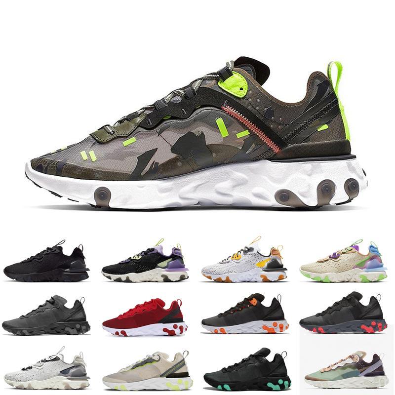 Camo scarpe da corsa Reagire visione Element 55 87 per le donne gli uomini Tour Giallo Hyper Fusion womens mens caldo di vendita traspirante scarpe da ginnastica formatori