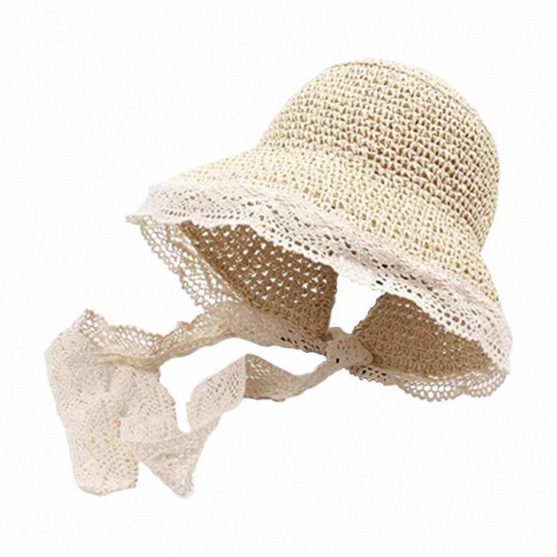 Ребенок Симпатичные дети шлемов Sun Bow Hand Made Солома Пляж Лето Твердые Дети Cap ковшовые Уши Панама B5T4 L4jL #