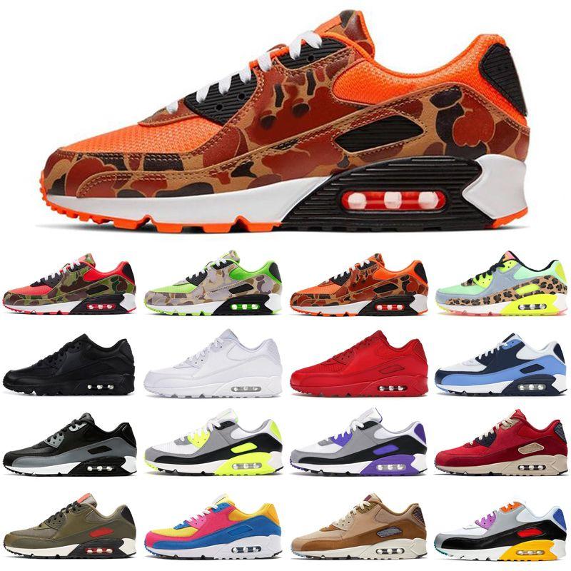 nike air max airmax chaud 90 canard 90s camo hommes femmes chaussures de course triple noir orange vert hommes unc des femmes des coureurs de sport formateurs taille 36-45