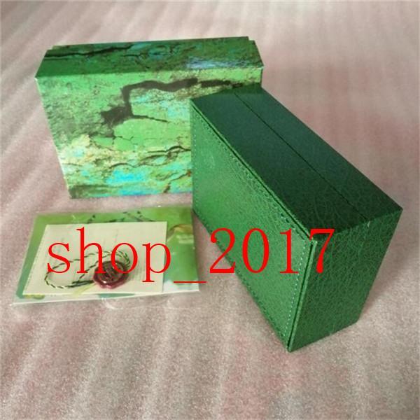XX Meilleure qualité Luxe Vert foncé Coffret cadeau cas pour Rolex Montres carte Livret Tags et articles en anglais Montres suisses Boxes777