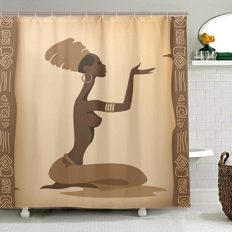 Eco-friendly Mulheres Africano cortinas de chuveiro poliéster impermeável Tecido Bath cortina para banheiro com 12 Hooks Home Decor T200102