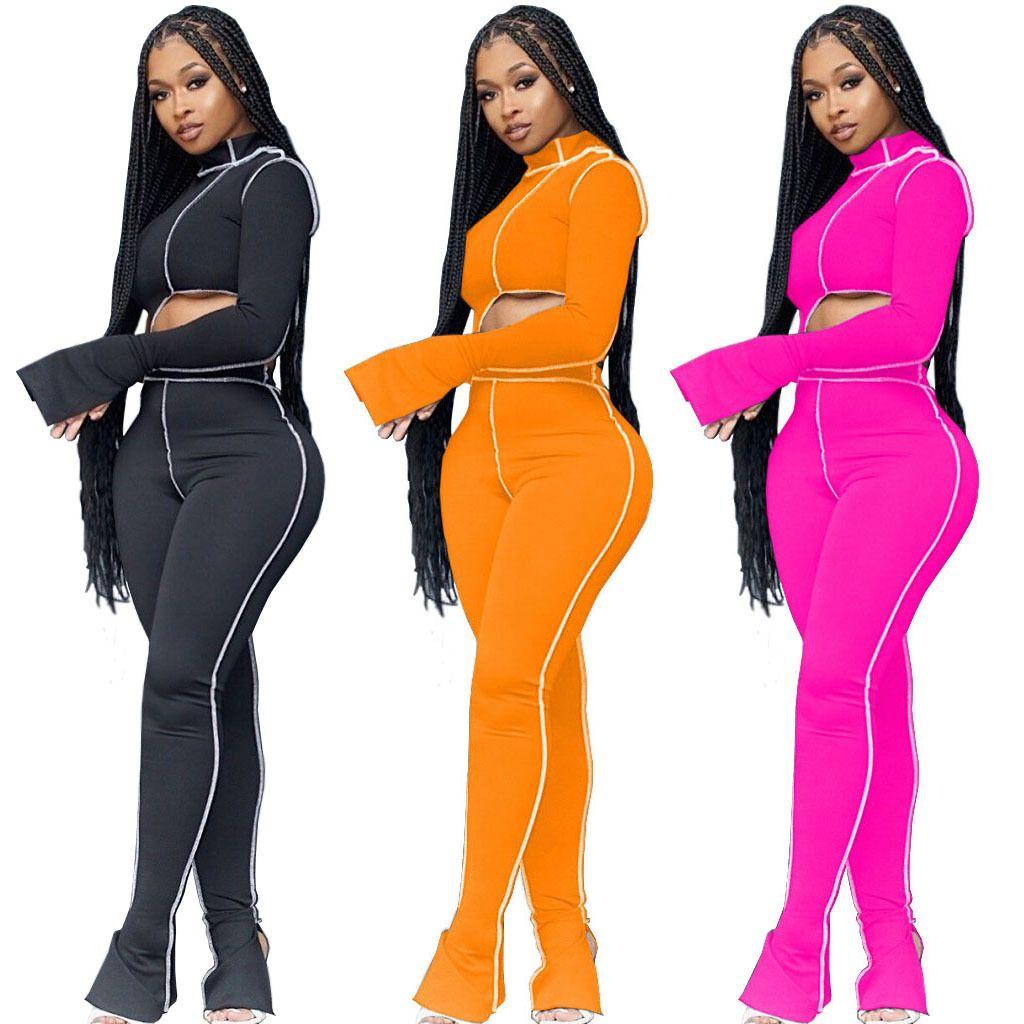 Designer-Frauen-Kleidung 2 Stück Anzug Personalisierte Linie Patchwork Aufflackern-Hülsen-Crop Top Flare Pants Bodysuits Herbst Freizeit-Outfits