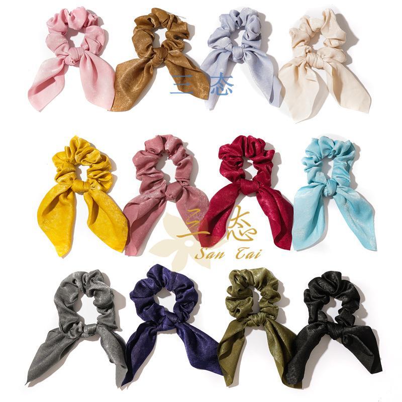 pompon anneau cheveux nouées hairband Les bandeaux de sensation de soie oreilles de lapin de couleur unie pour les femmes