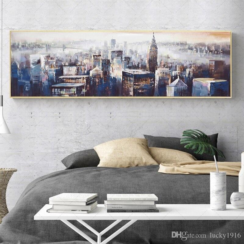 Salon Yatak Odası Modern Duvar Dekor Peyzaj Poster Baskılar Soyut Wall Art Resimler Boyama Modern Şehir Manzarası Tuval Yağ