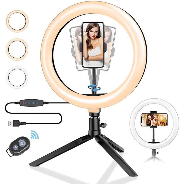 Dim led halka ışık tripod standı telefon tutucu selfie canlı akış ve makyaj ışık