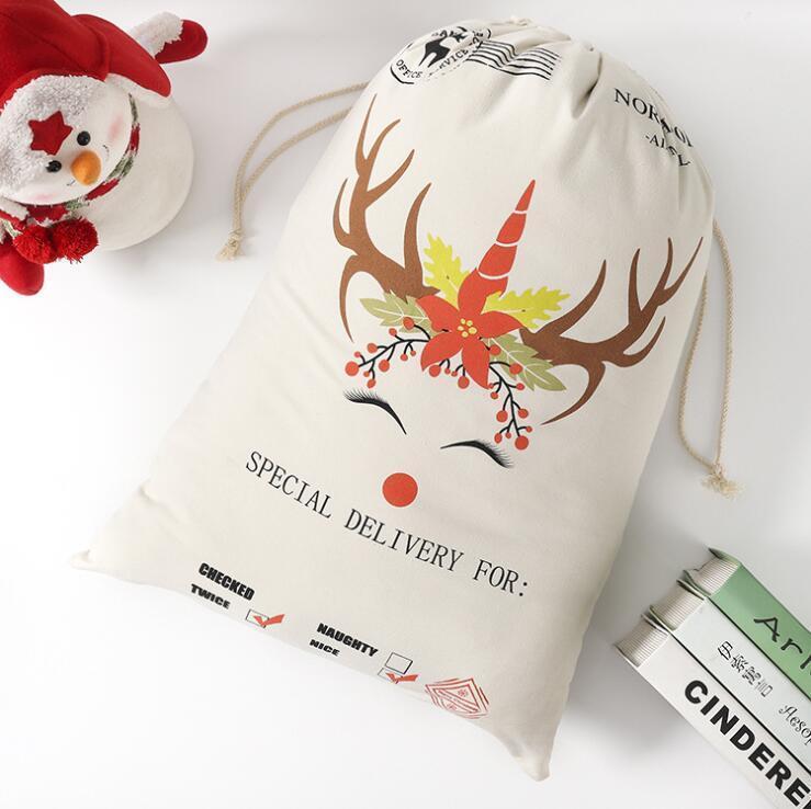 Regalo de Navidad de Santa Bolsas Sacos Monogrammable Saco de Santa con asas de Santa Claus ciervos 9 diseños granel en Stock DHF634