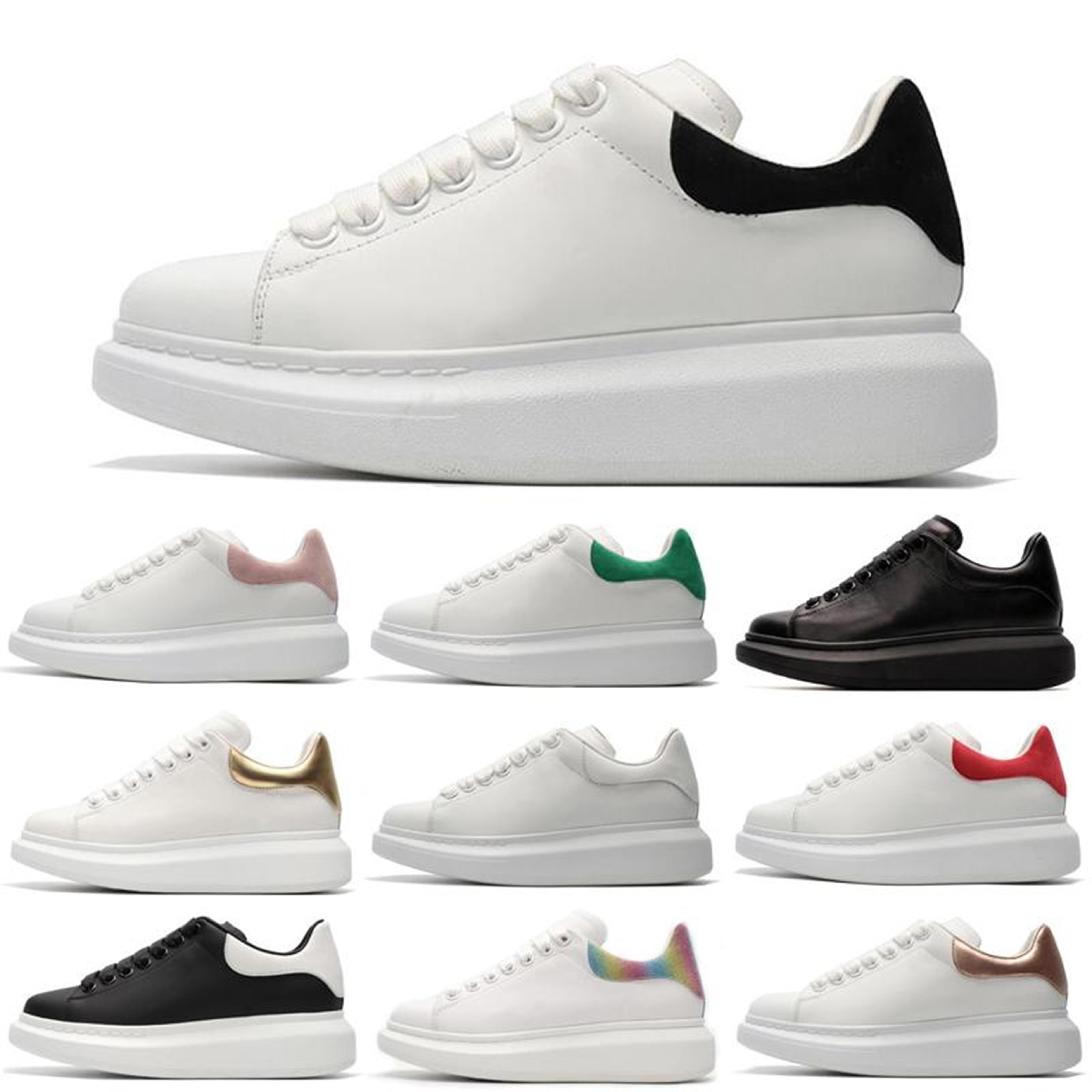 Nuevos hombres para mujer azul Velet Back Platform Sneakers Blanco Cuero genuino entrenadores Comfort Bonita niña Venta al por mayor Zapatos casuales Tamaño 36-45