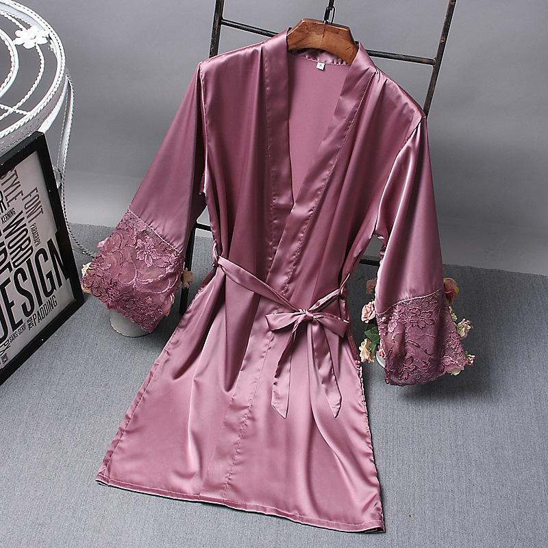 2020 Frühlings-Sommer-Frauen Satin Silk Nightgowns Nachthemden weibliche lose Sleep Damen Bridemaid Nachtwäsche mit Schärpen