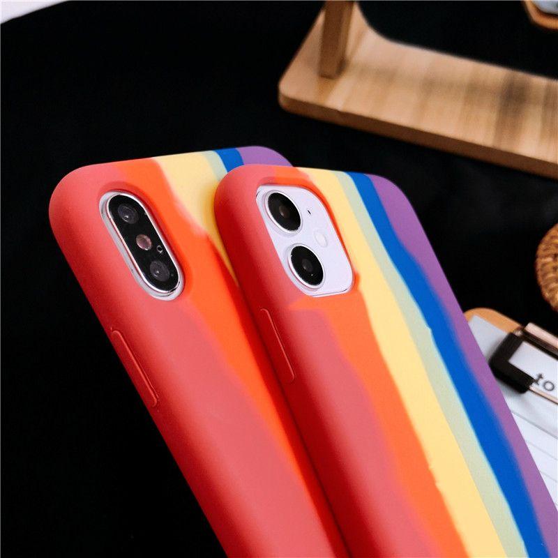 Caso arco iris del gradiente de teléfono Para iPhone11 11Pro SE XR X XS XS Max 7 8 Plus de silicona de teléfono de la contraportada de Shell del teléfono suave