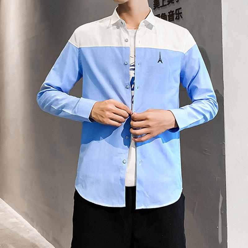Langarm-Patchwork-Shirt Männer-Kleidung Frühling und Herbst dünne Männer Geschäfts-Kleid Shirts Formal Button-Down-Kragen-Hemd-Mann-Marken