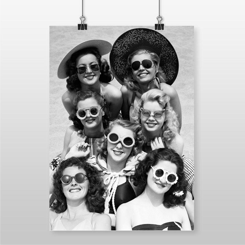BEAUTIFUL WOMEN Beach Photo Vintage Poster Altered Art Print Beach Friends Picture Wall Art Canvas Painting Girls Room Decor