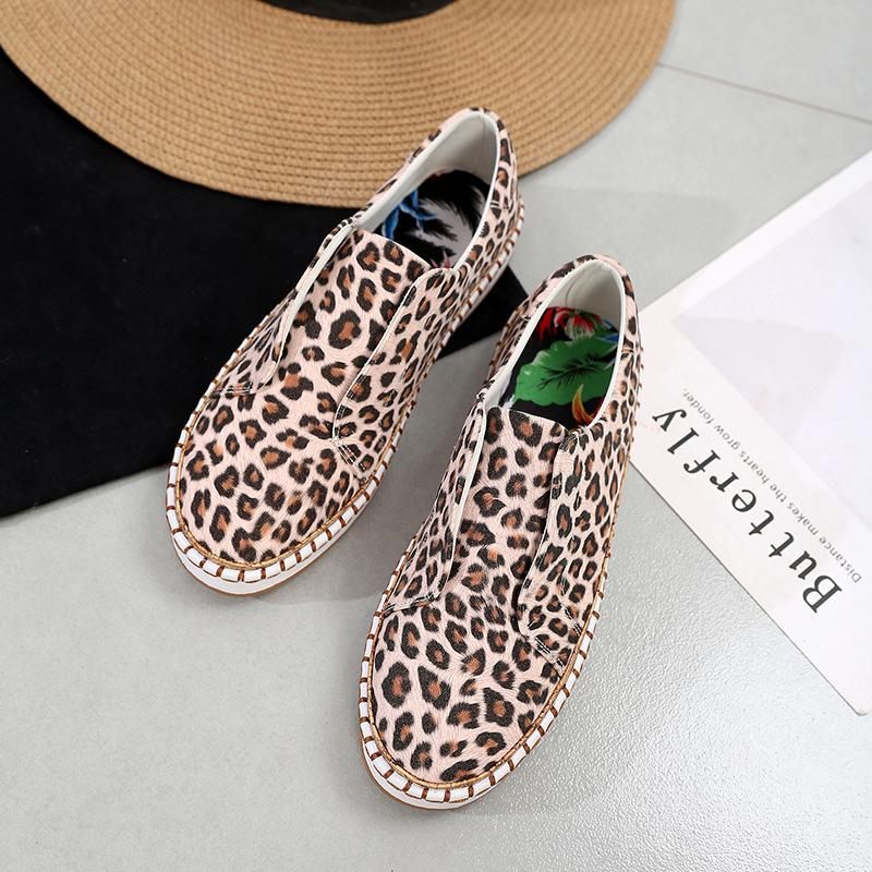 Kadınlar Düz Leopar Kadın Yılan Günlük Ayakkabılar Kadın Dikiş Platformu Loafers Vulkanize Bayanlar Ayakkabı Plus Size 2020 Moda