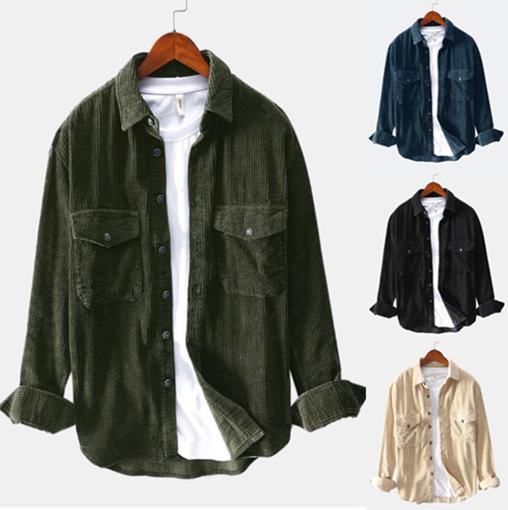 Erkek Kış Uzun Kollu Kadife Toplama Yaka Gömlek Harajuku Casual Bluz Gömlek Streetwear İnce Fcamisa masculina CX200717