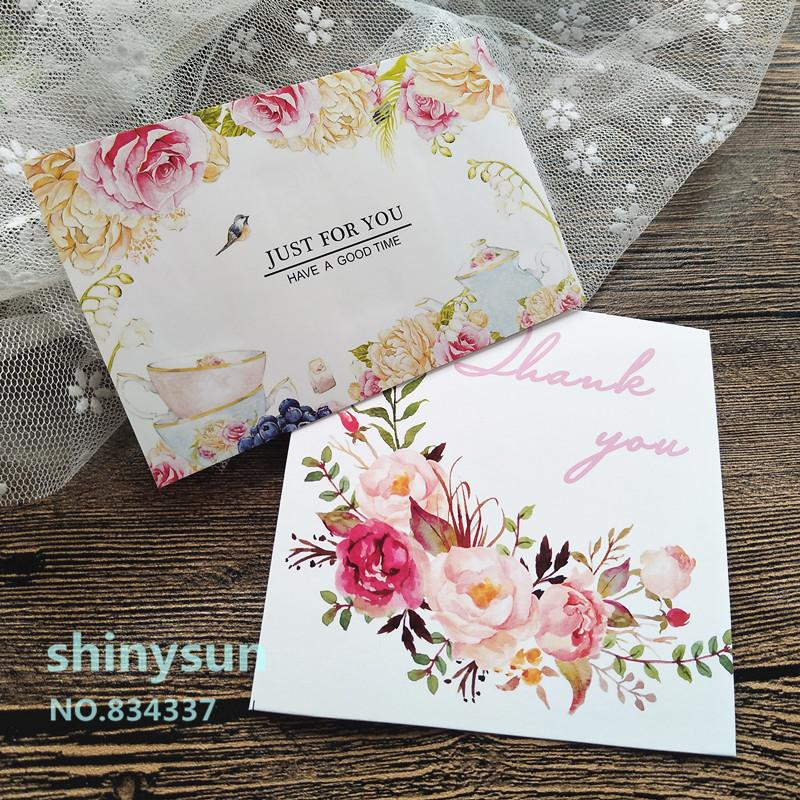 "10pcs/lot 2 styles Holiday greeting card DIY Decorative card Flower and bird ""thank you""""just for you"" 10x10cm"