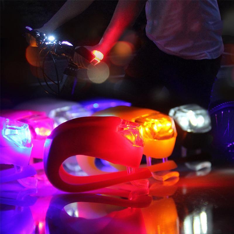 1pcs de silicona de la bicicleta luz delantera de la bici MTB handbar luz nocturna resistente al agua Ciclismo Luces de advertencia accesorios de la bici