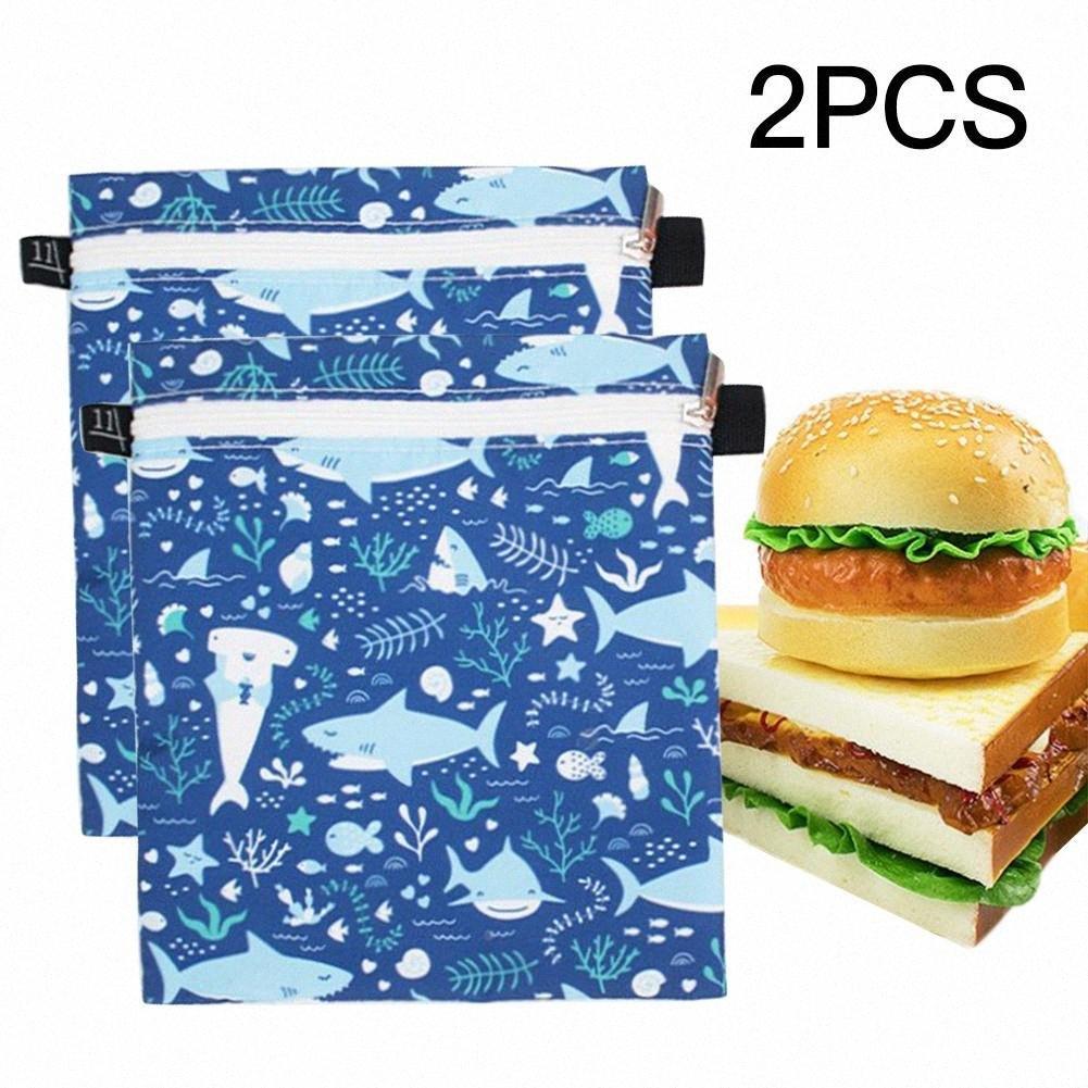 2adet Çocuk Öğle Çanta Yeniden kullanılabilir Sandviç Snack Çanta-Yıkanabilir Öğle Çanta Nfee #