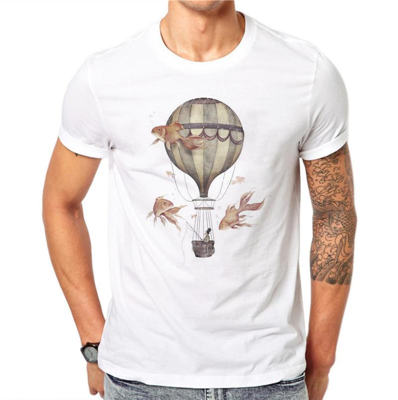 100% хлопок воздушных шарах Дизайн Мужчины футболки Goldfish Printed Мужской Прохладный Стиль Tops Hipster с коротким рукавом Повседневная Tee футболки