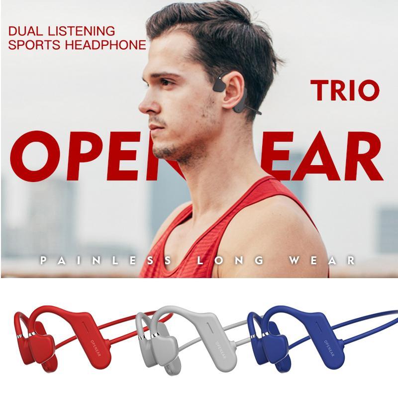 Conduzione ossea cuffie Bluetooth 5.0 orecchio aperto cuffia senza fili di sport esterni Esecuzione impermeabile auricolare stereo Handsfree
