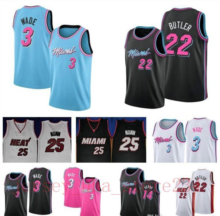 Hot Günstige Männer MiaminbaHeate Dwayne Wade 3 Jersey Tyler 14 Herro genähtes Jimmy 22 Butler Basketball Trikots Herren Größentabelle