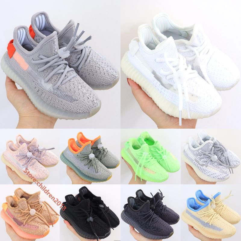Tail Light Cream White Static Kanye West V2 Kids Running Shoes Glow Cinder Reflective Elastic Band Babys Boys Girls Sneakers Size 24-35