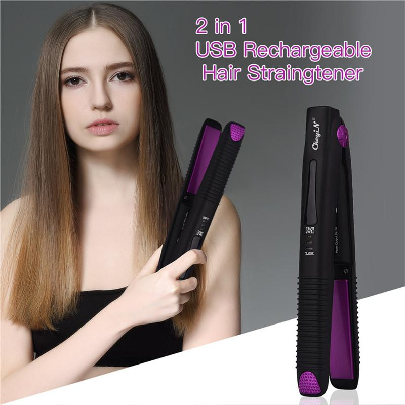 USB Rechargeable Hair Straightener Portable Cordless Hair Flat Iron Hair Straightening Curling Flat Iron Hairs Styling Tool CX200721